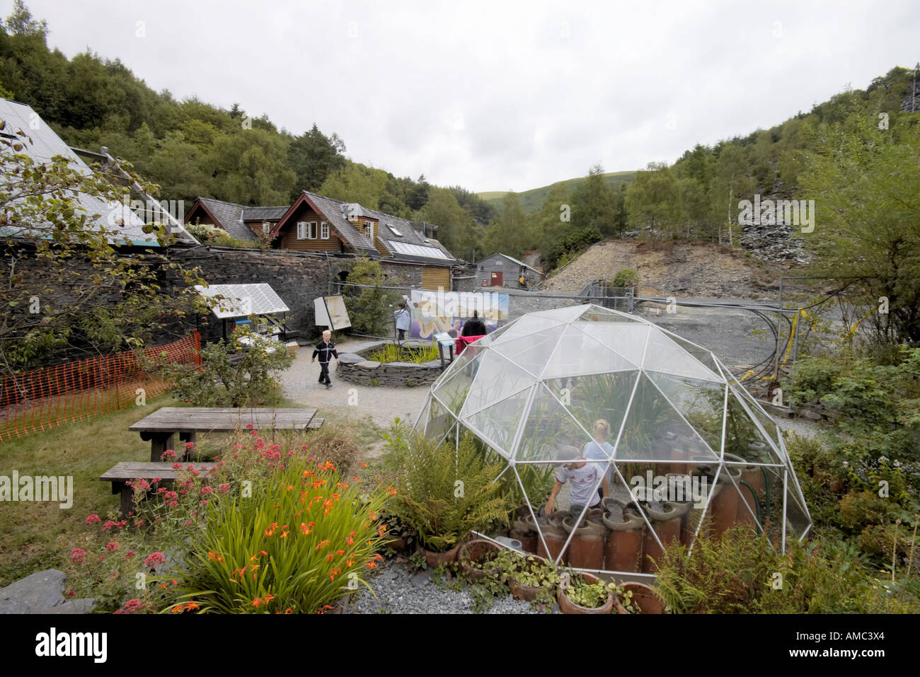 the geodesic dome greenhouse at the Centre for Alternative Technology Machynlleth Wales - Stock Image