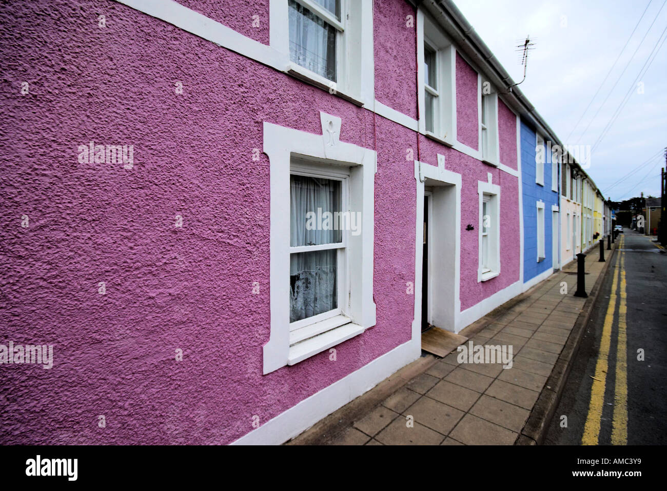 a colourful terraced street in Aberaeron Cardigan Bay Wales - Stock Image
