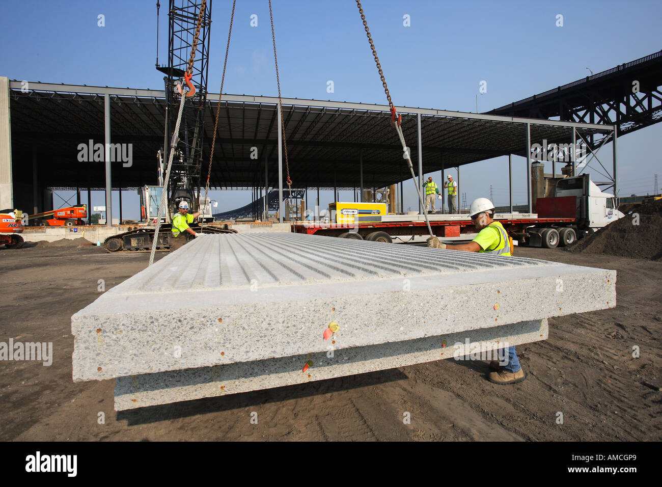 Warehouse Construction Using Prefabricated Concrete Wall Sections - Stock Image