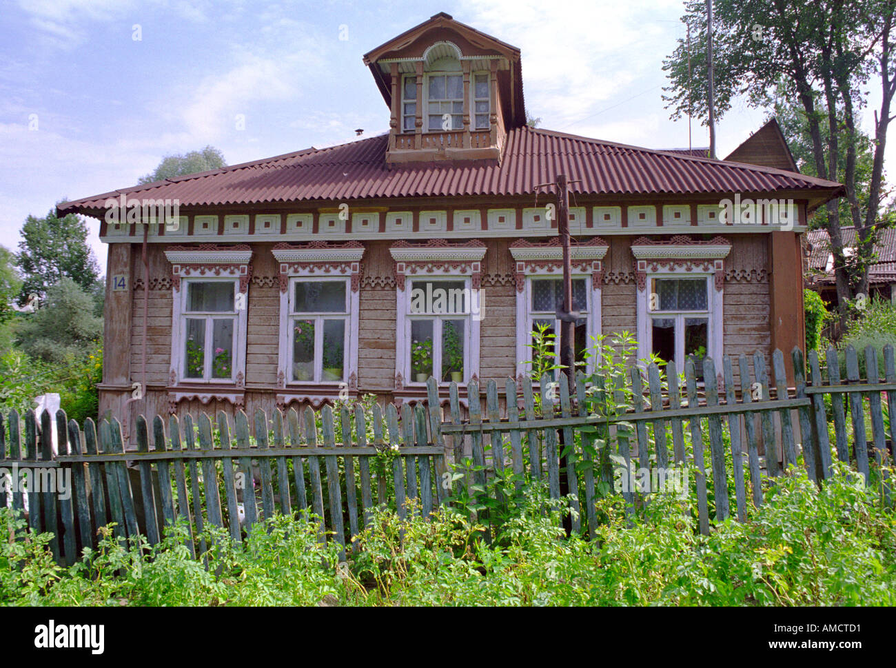 Russian izba house in Mojaisk Russia - Stock Image