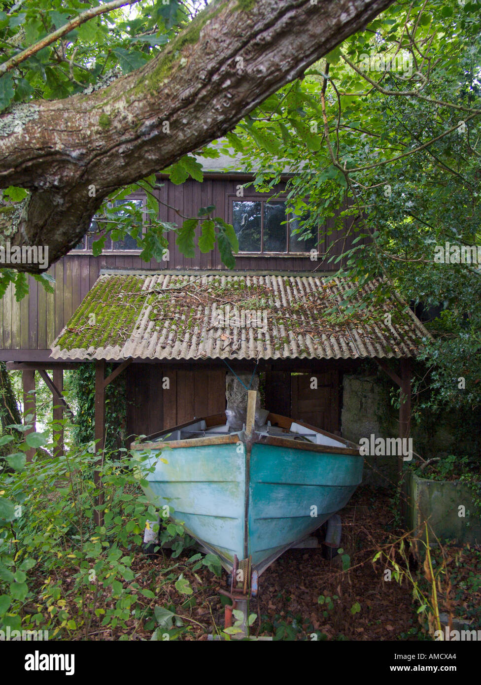 Boat house in Cornwall - Stock Image