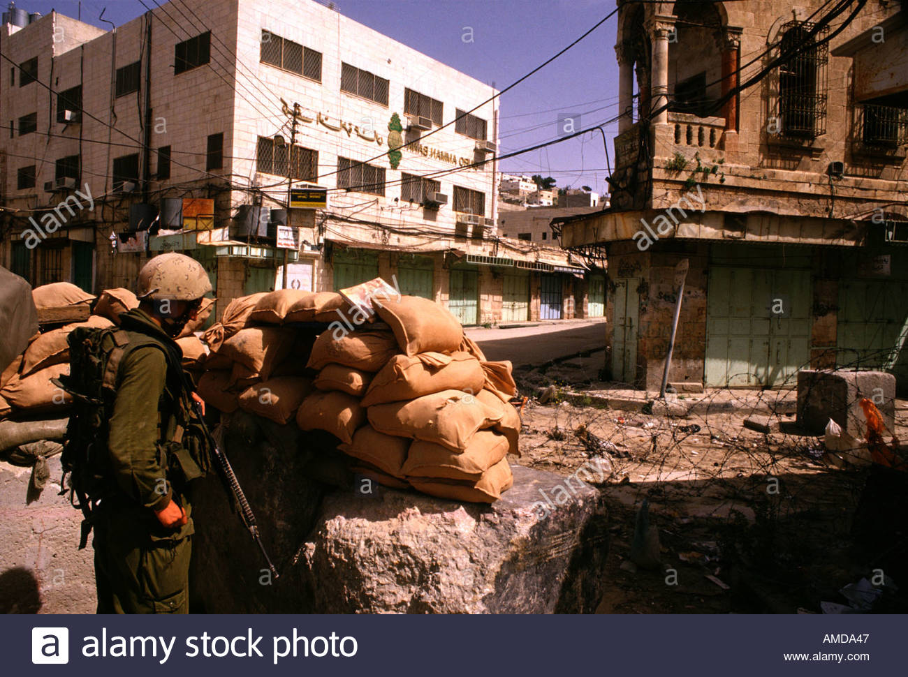 An Israeli army position in the closed Arab market at the old city of Hebron West Bank Israel - Stock Image