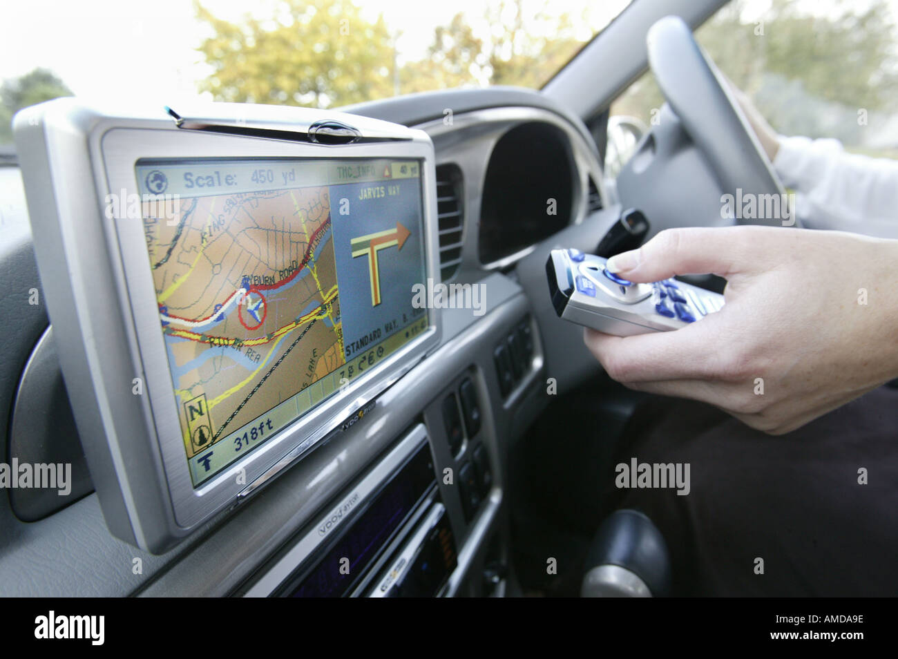 An in car satellite navigation system in the UK. Stock Photo