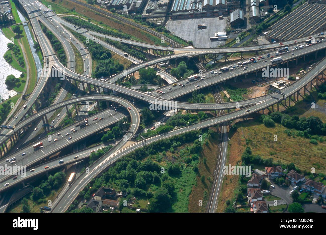 Aerail view of Spaghetti Junction, Birmingham - Stock Image