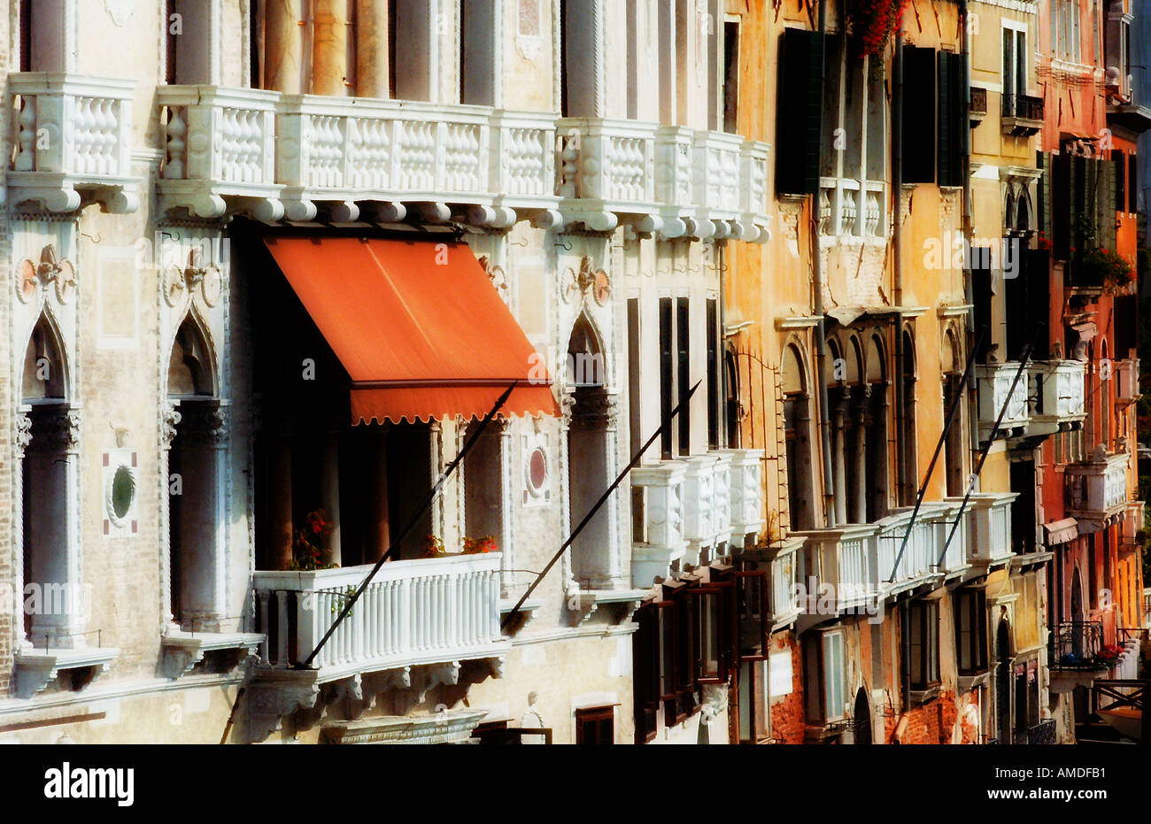 Venice Grand Canal facade View from Accademia Bridge Stock Photo