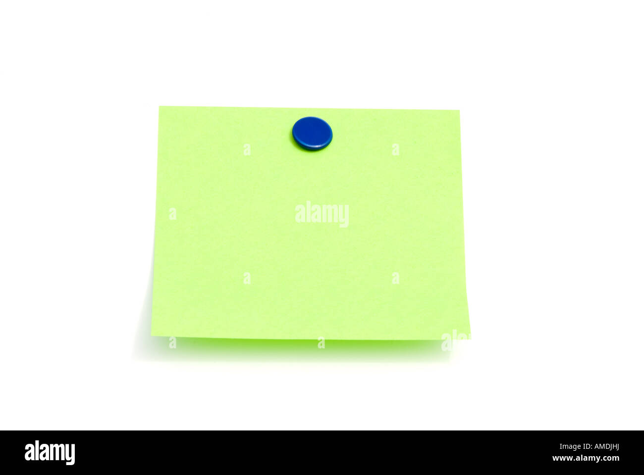 An isolated green sticky back note ready for user to fill in text Stock Photo