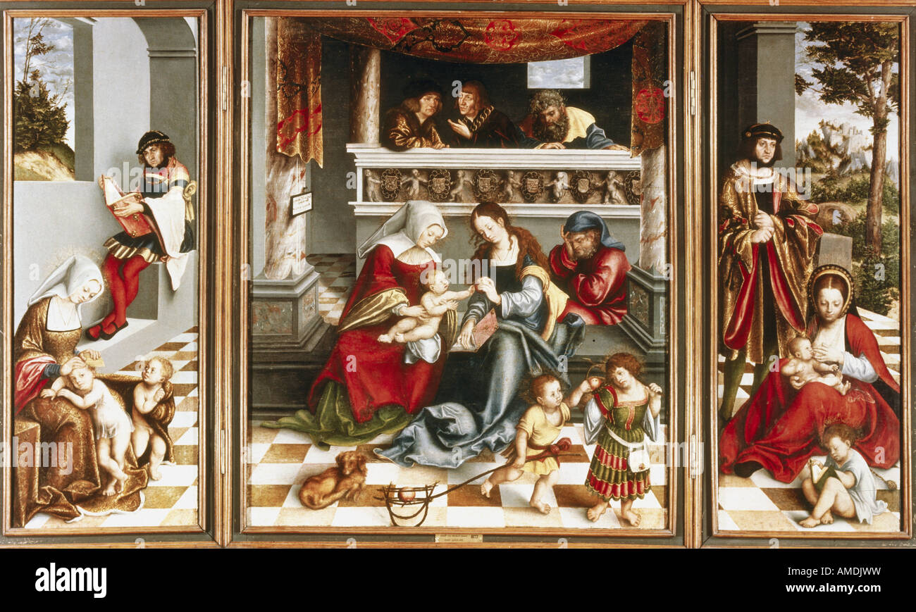 fine arts, Cranach, Lucas the Elder (1472 - 1553), painting, Holy Family, 1509, oil on woods, tryptich, Torgau Altar, Stock Photo