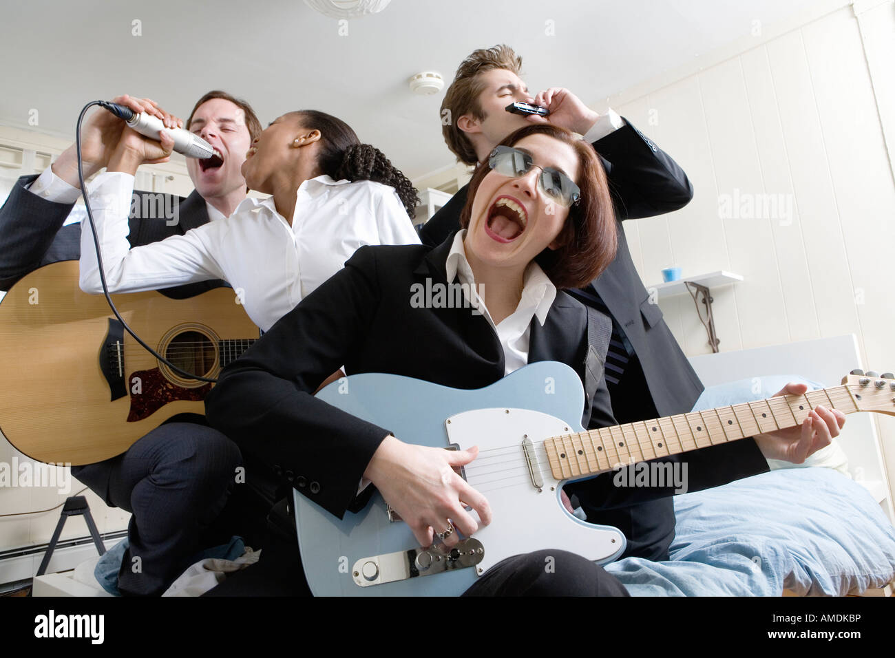 View Of People Playing Music Stock Photo 15231801 Alamy