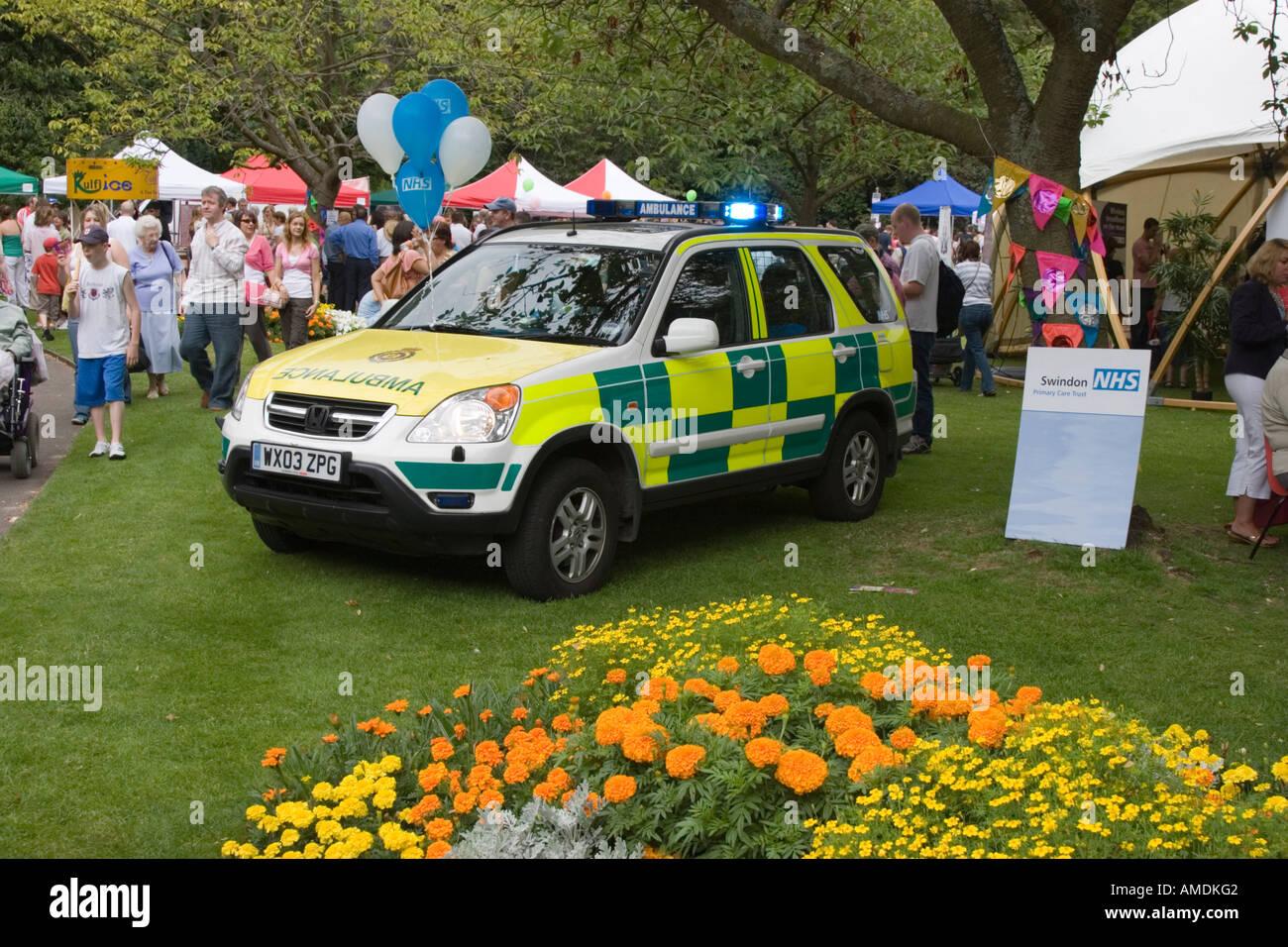 Ambulance response car at the Swindon Mela - Stock Image