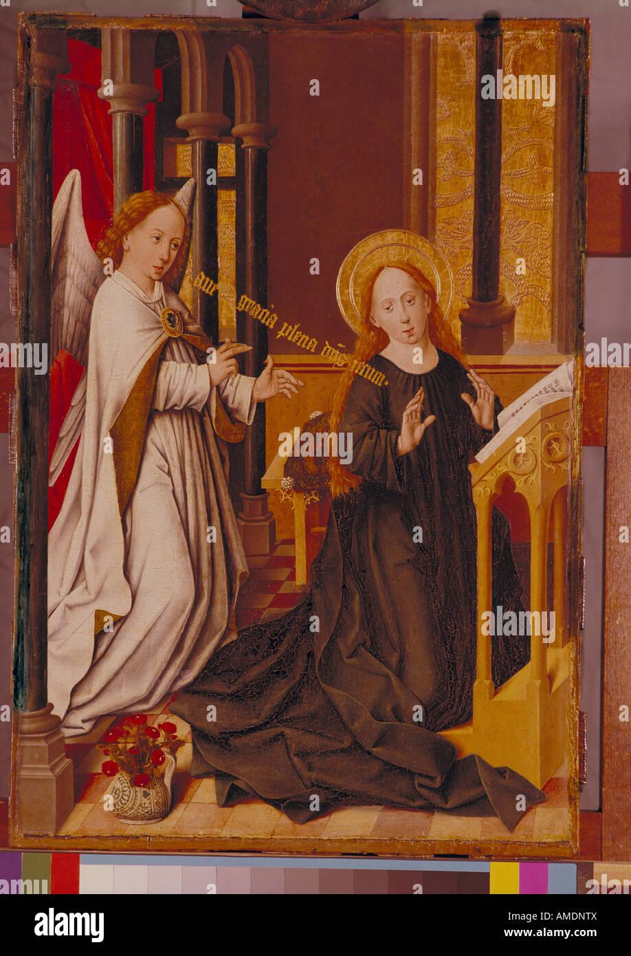 "fine arts, Herlin, Friedrich, (circa 1459 - circa 1500), painting,  ""Verkündigung an Maria"", ""Annunciation"", 15th century, state gallery,  Karlsruhe, ..."