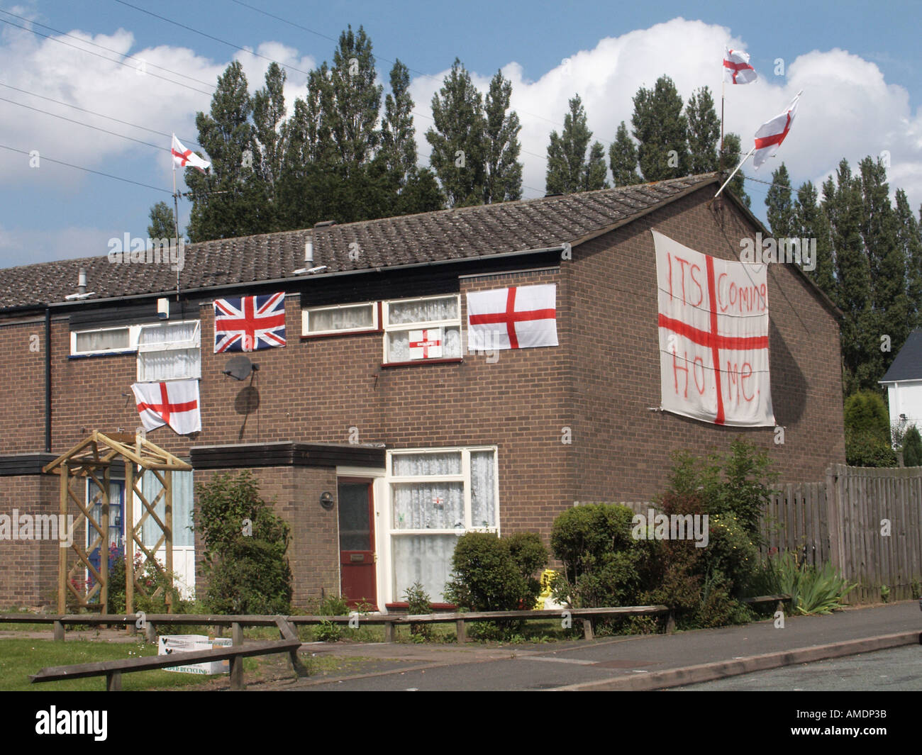 Bournville Birmingham England football fans house decorated during World Cup - Stock Image