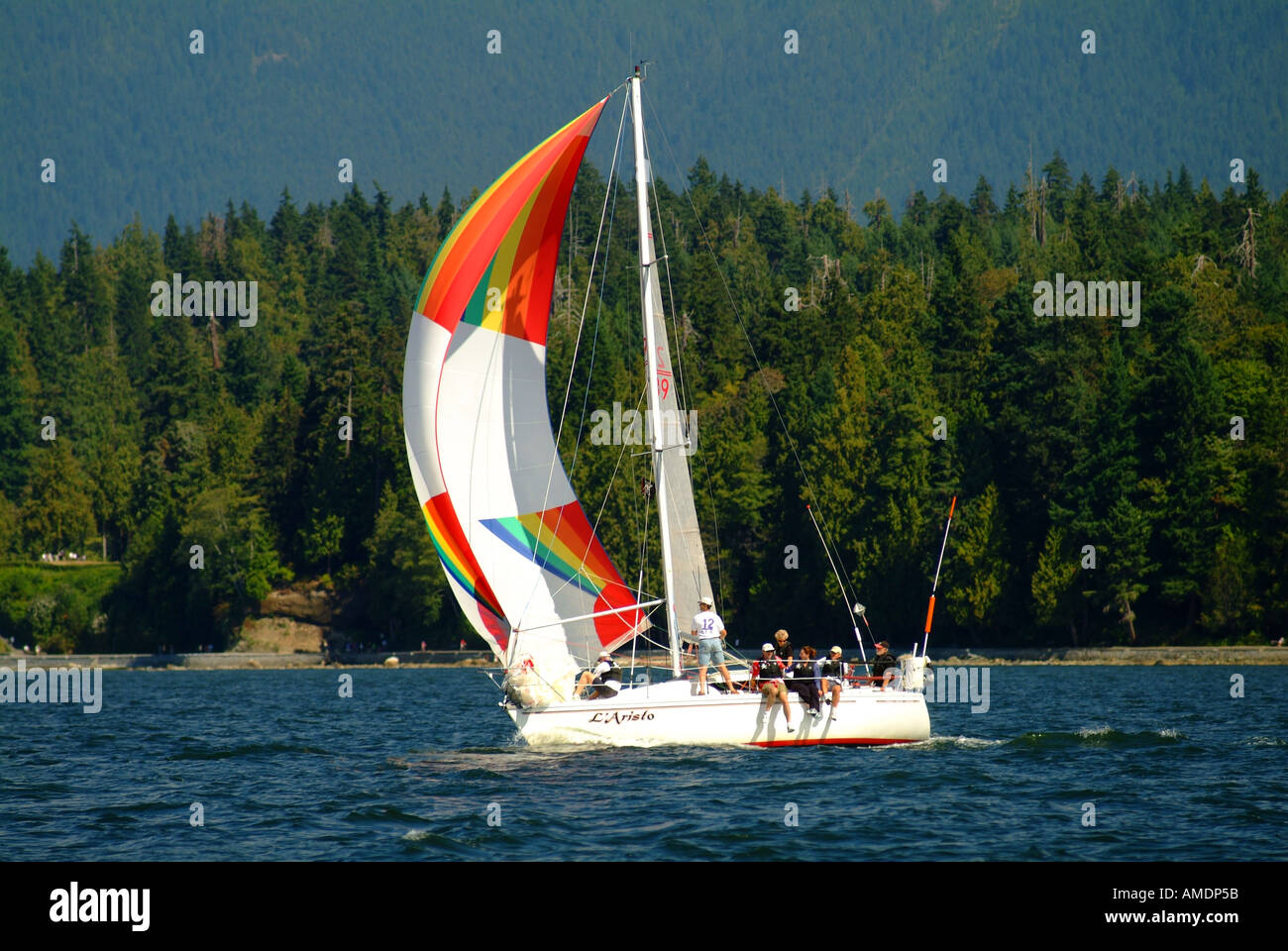 Yacht Spinnaker High Resolution Stock Photography And Images Alamy City mountains dock sail boat yacht