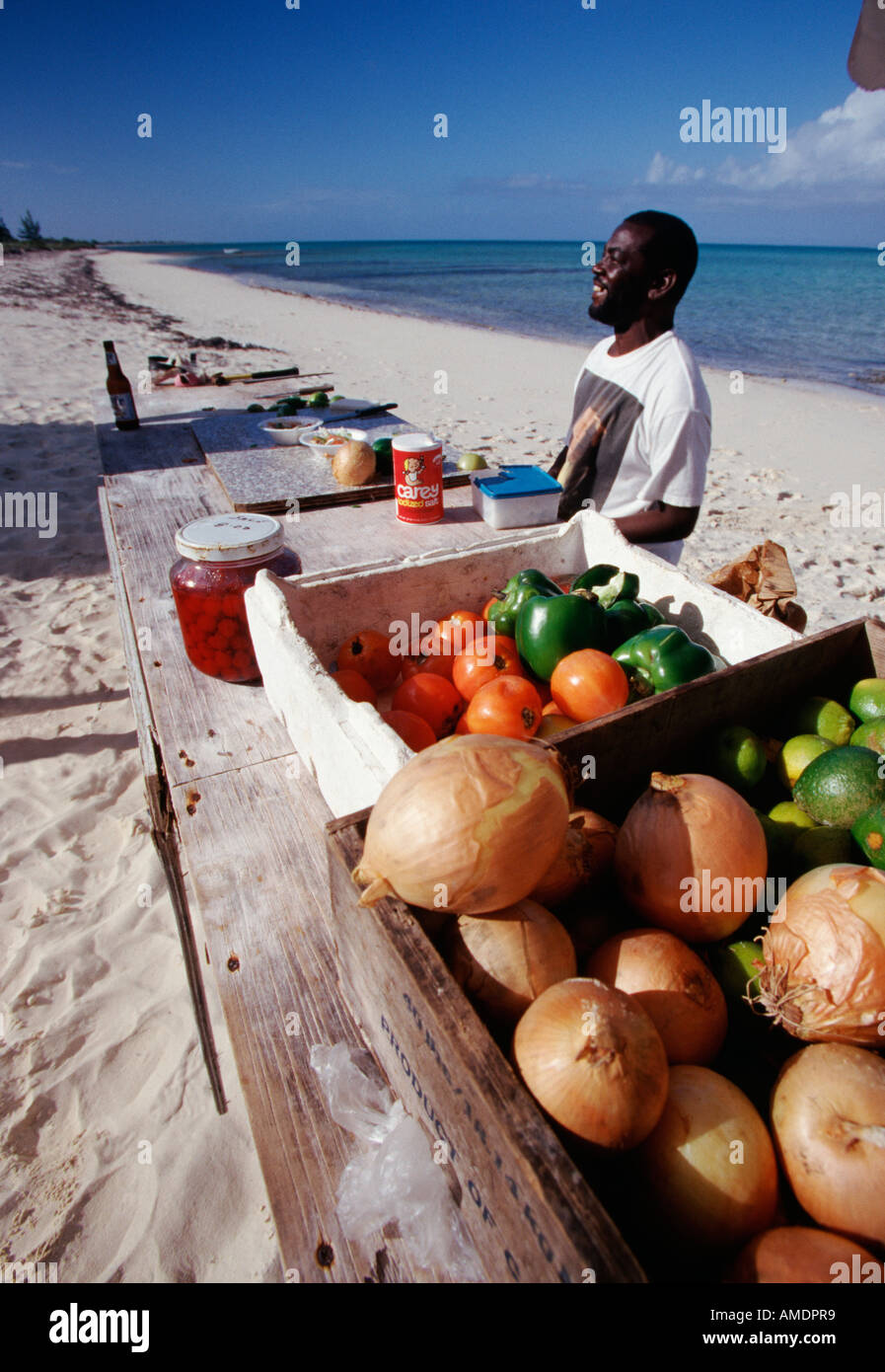 Turks Caicos Providenciales Da Conch Shack Boogaloo s Conch Bar in the Blue Hills area - Stock Image