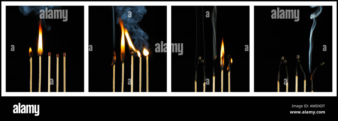 FOUR PICTURE SEQUENCE OF BURNING MATCHES - Stock Image