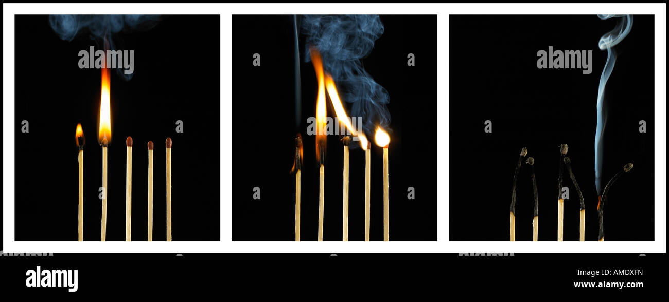 THREE PICTURE SEQUENCE OF BURNING MATCHES - Stock Image
