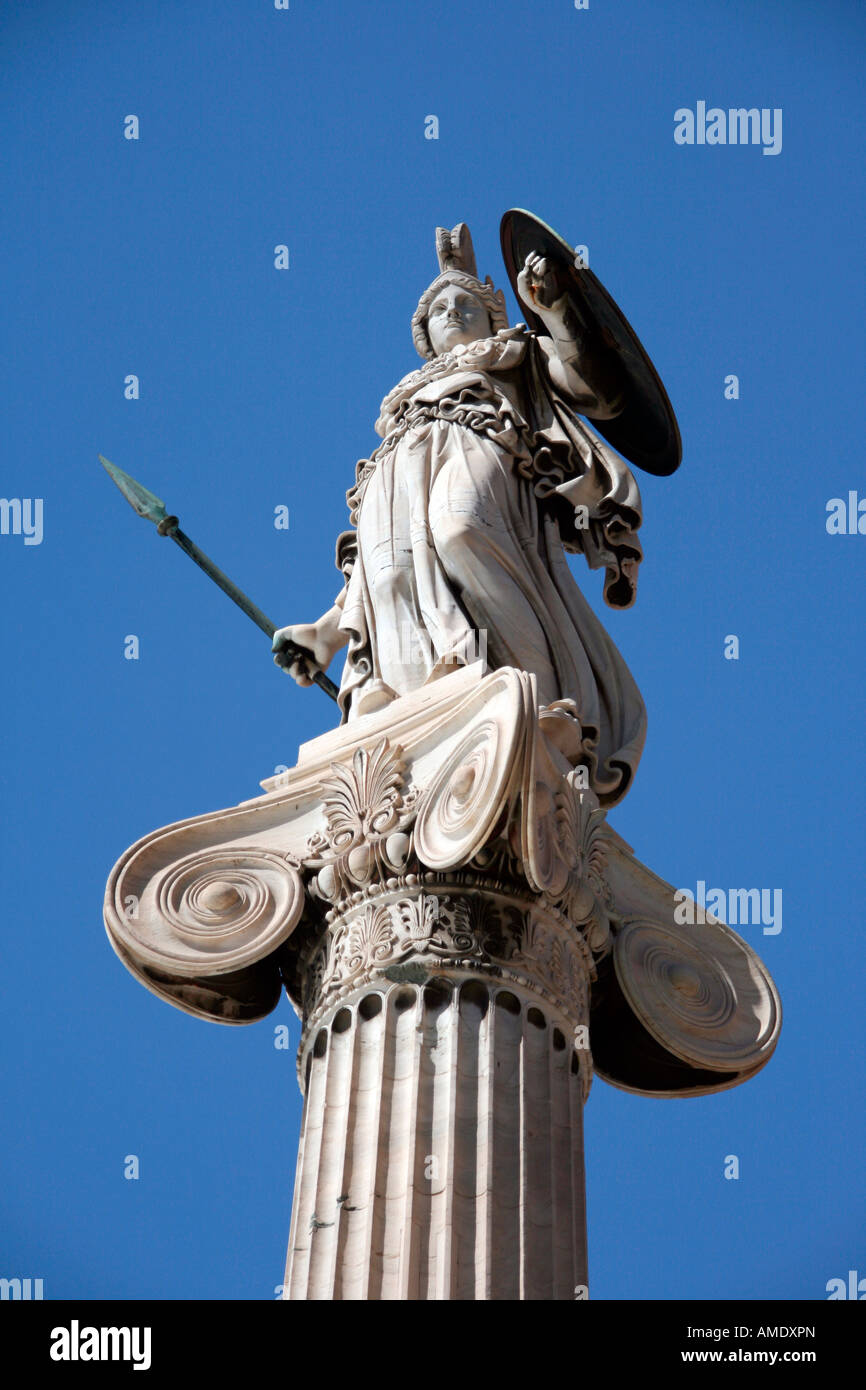 landmarks of athens the statue of goddess athena from below angle - Stock Image