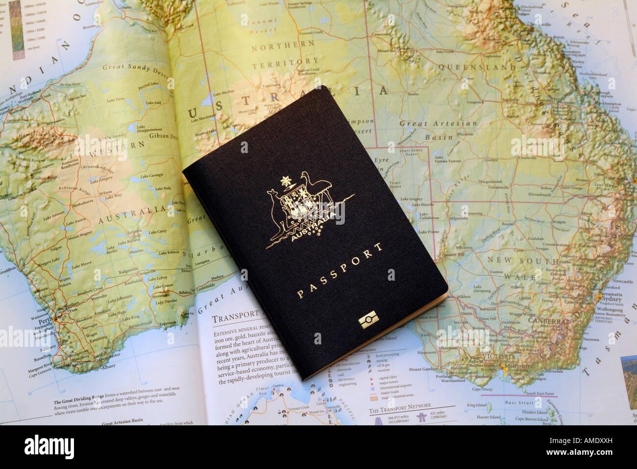 Australian Passport New Version and Map of Australia - Stock Image