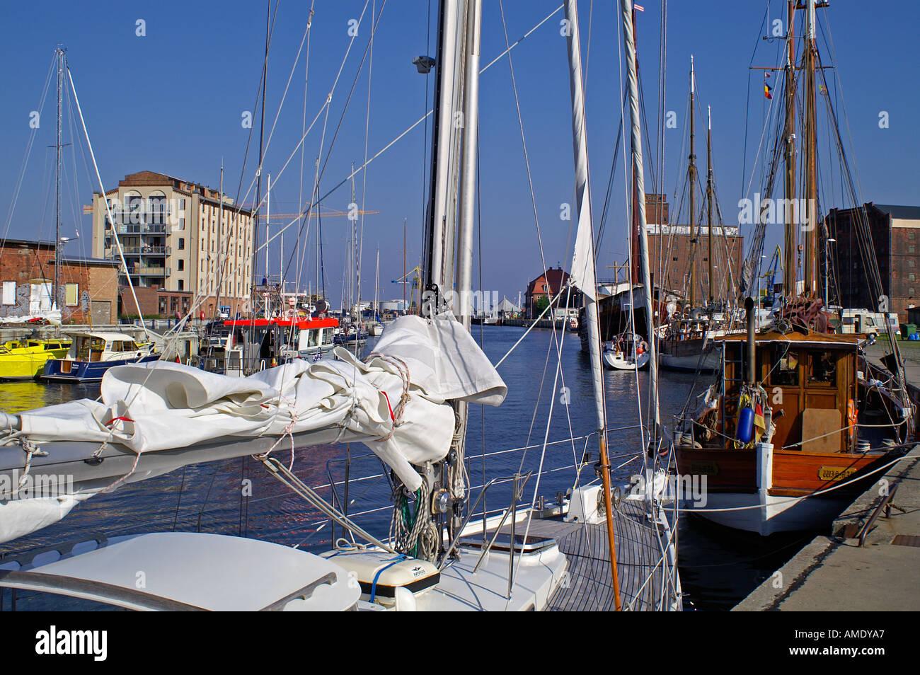 Alter Hafen habor Wismar sailing boat - Stock Image
