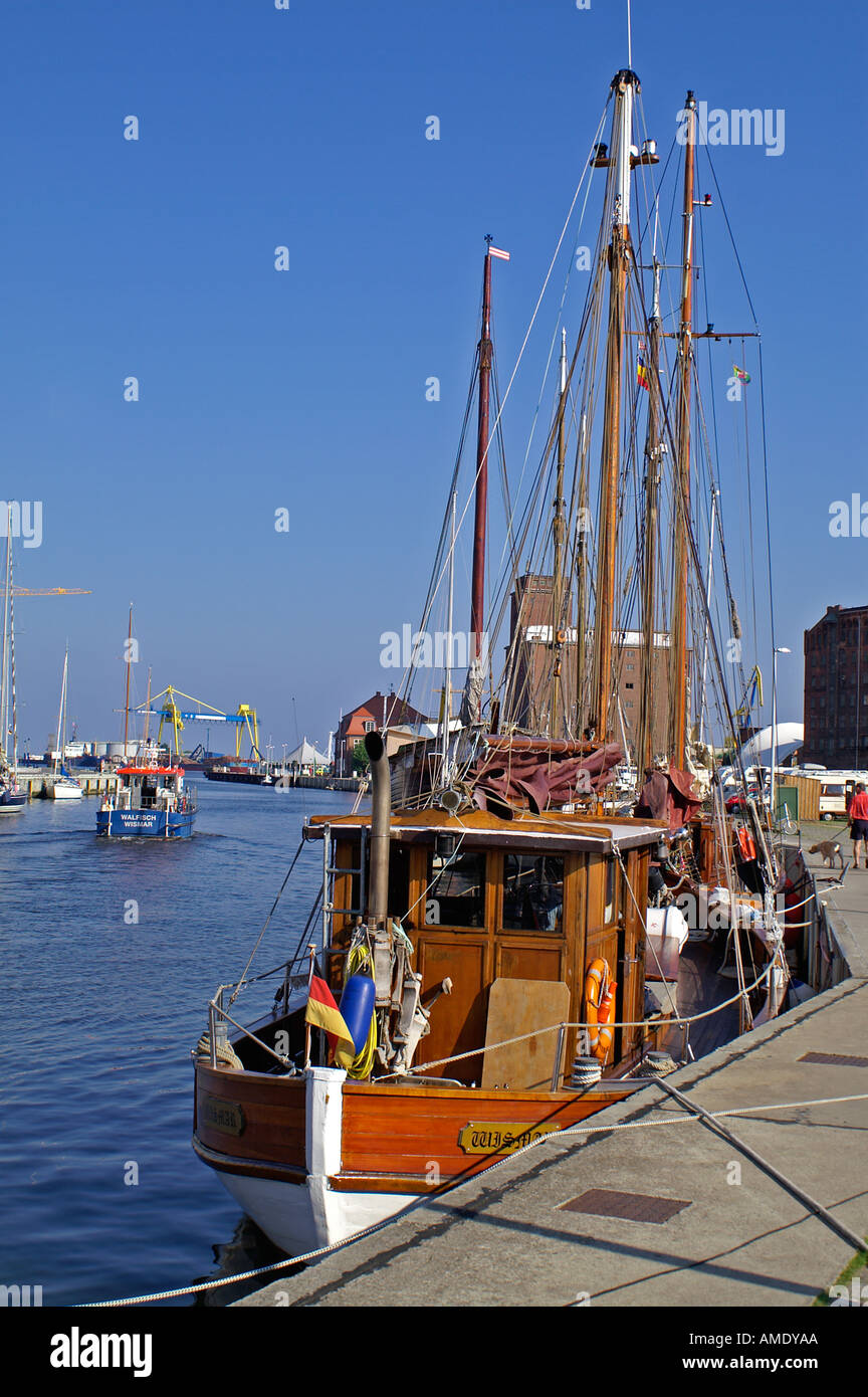 habor Wismar sailing boat - Stock Image