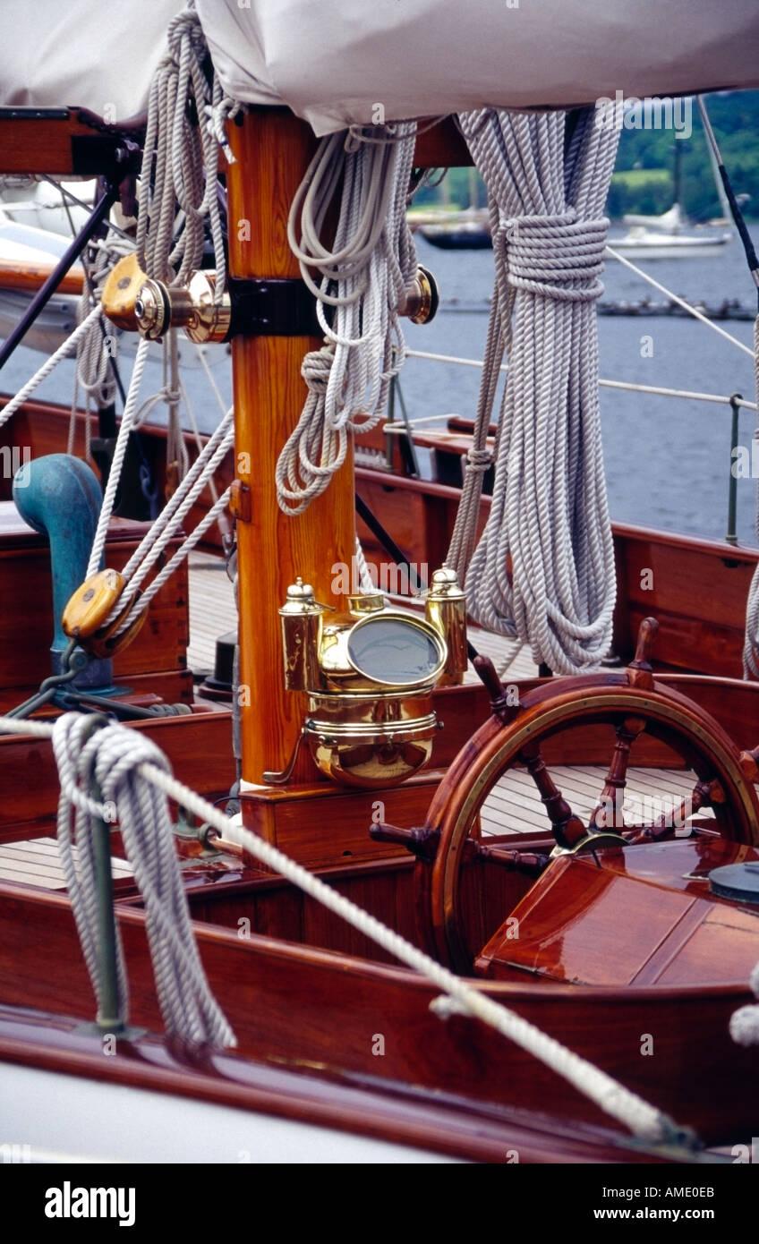 wheel and binnacle detail of Fife yacht Kentra Rhu marina gareloch scotland europe - Stock Image