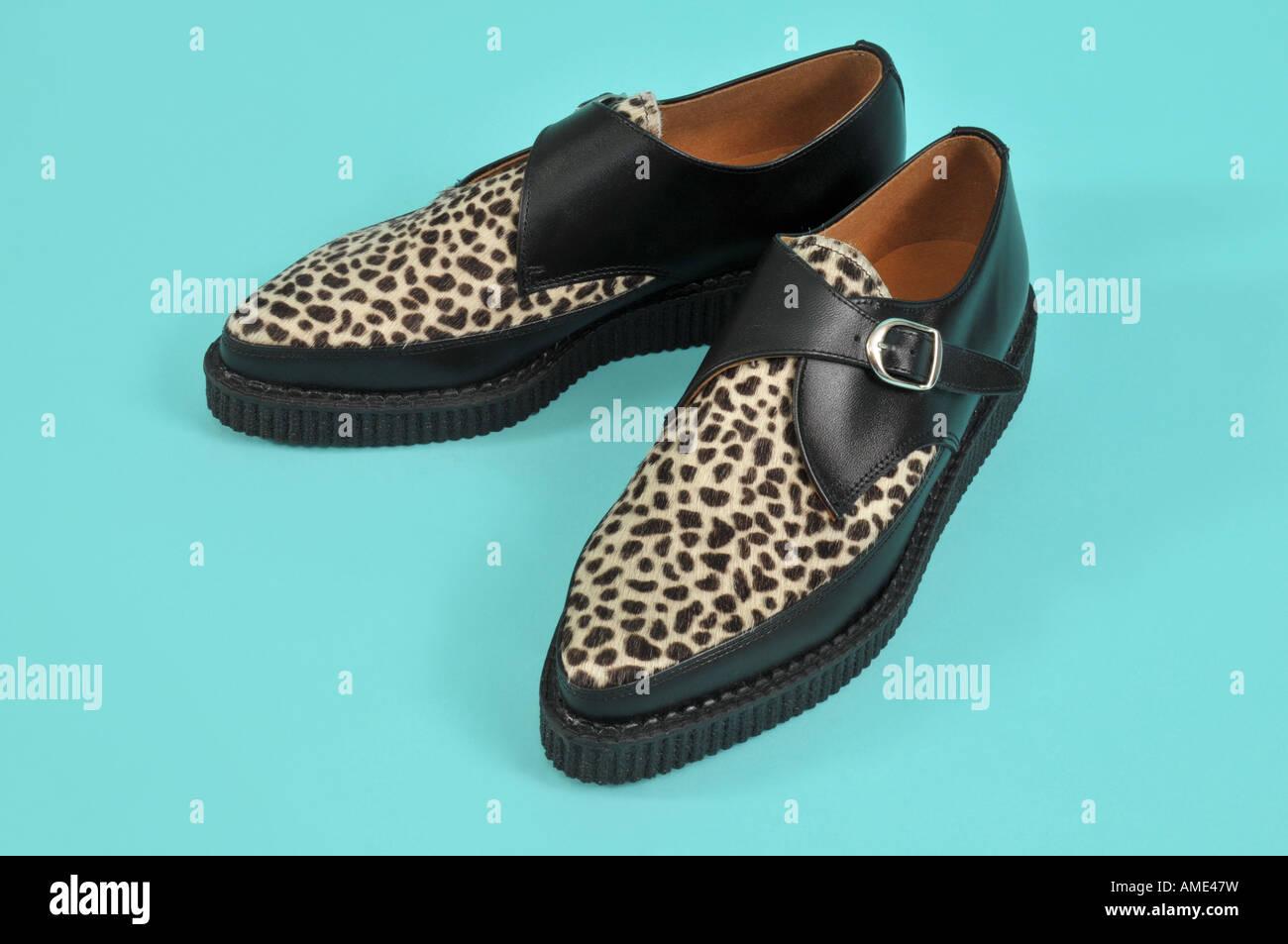 Leopard print brothel creeper shoes