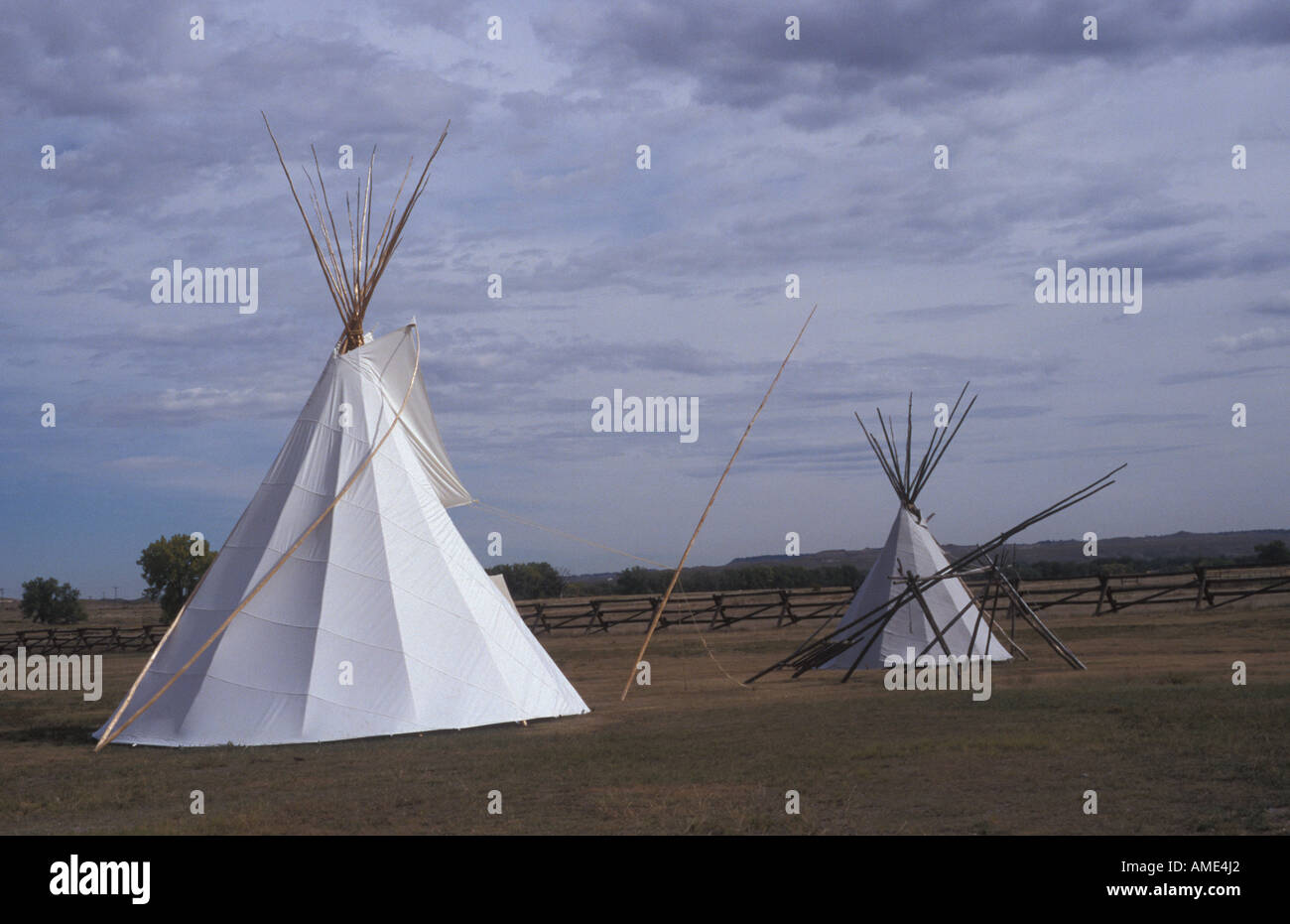 Indian teepees Fort Laramie National historic site Wyoming USA - Stock Image