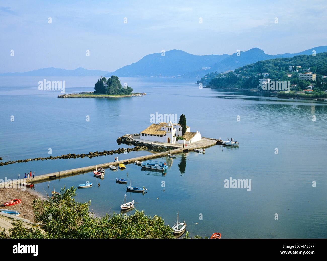 Pontikonisi and Vlacheraina monastery Corfu island Greece - Stock Image