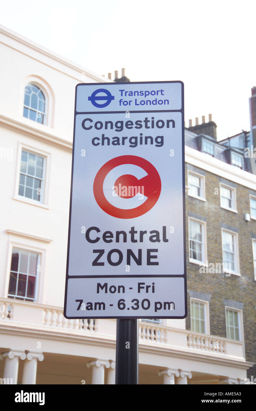 UK London Congestion Charging Central Zone sign - Stock Image