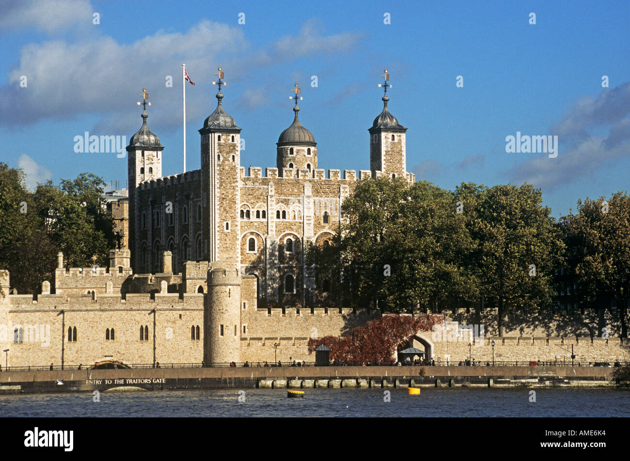 The Tower of London seen across the River Thames Executions of some of Henry VIIIs wives and figures such as Sir Thomas Moore and Sir Walter Raleigh were held prisoners here - Stock Image