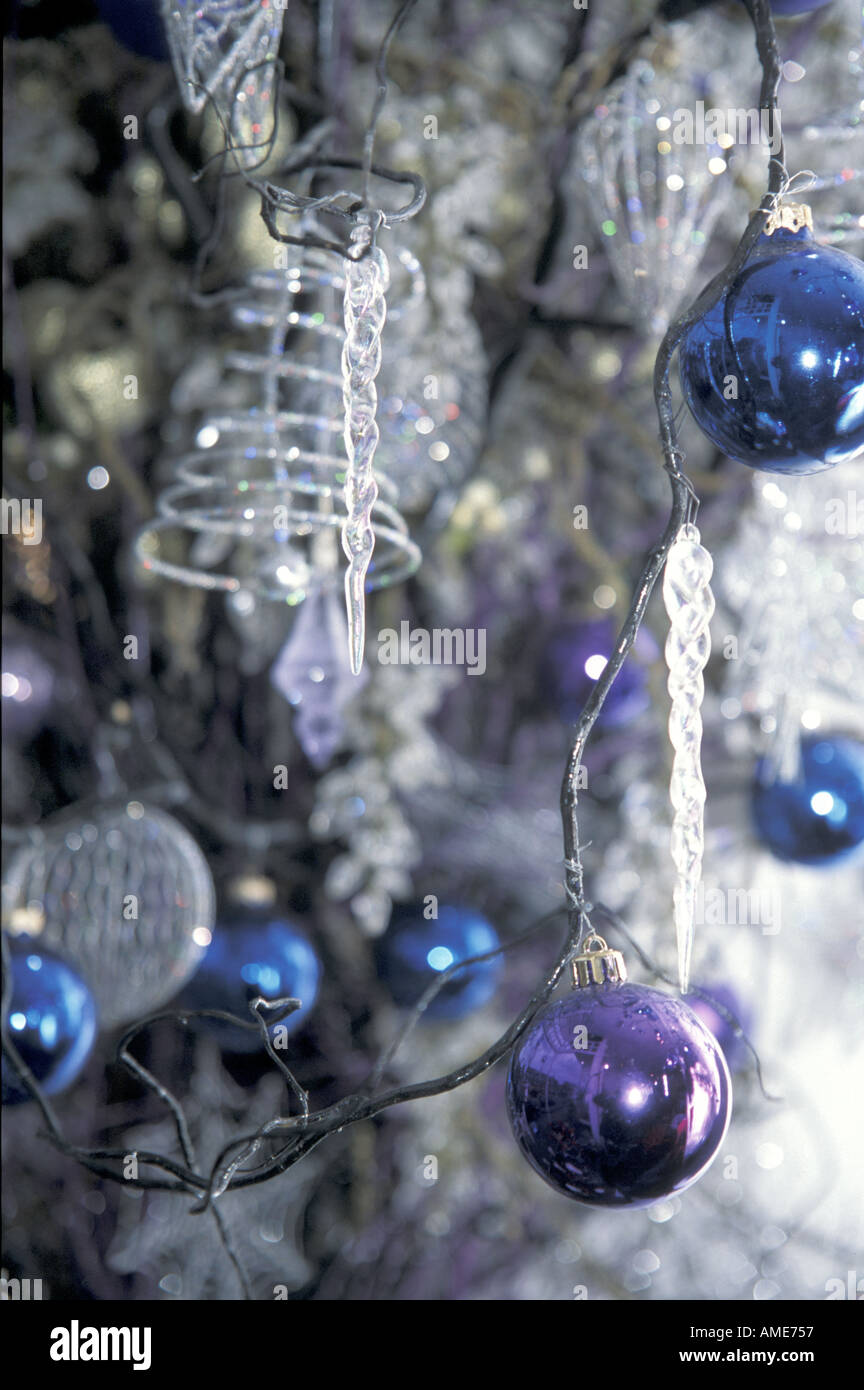 Icicles For Christmas Trees.Christmas Tree Decorations With Icicles Stock Photo 1369942