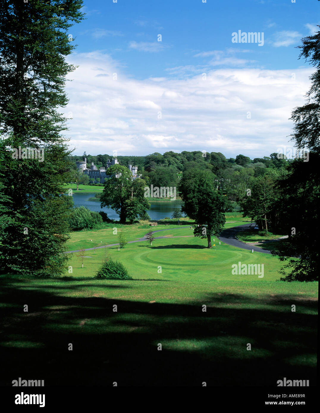 Parkland Golf Course With Castle In Background Stock Photo Alamy