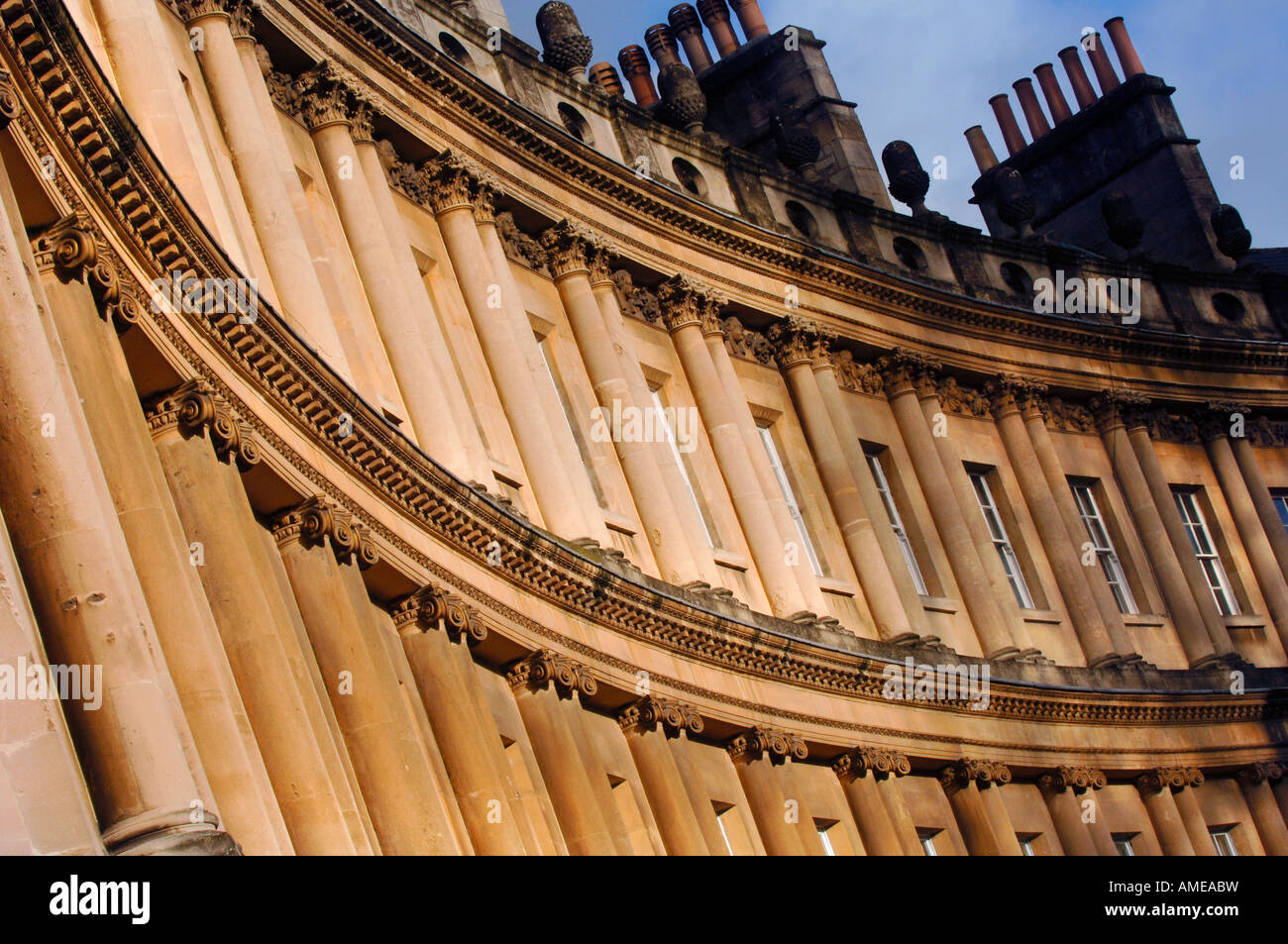 The famous landmark of Bath: The Circus bathed in morning