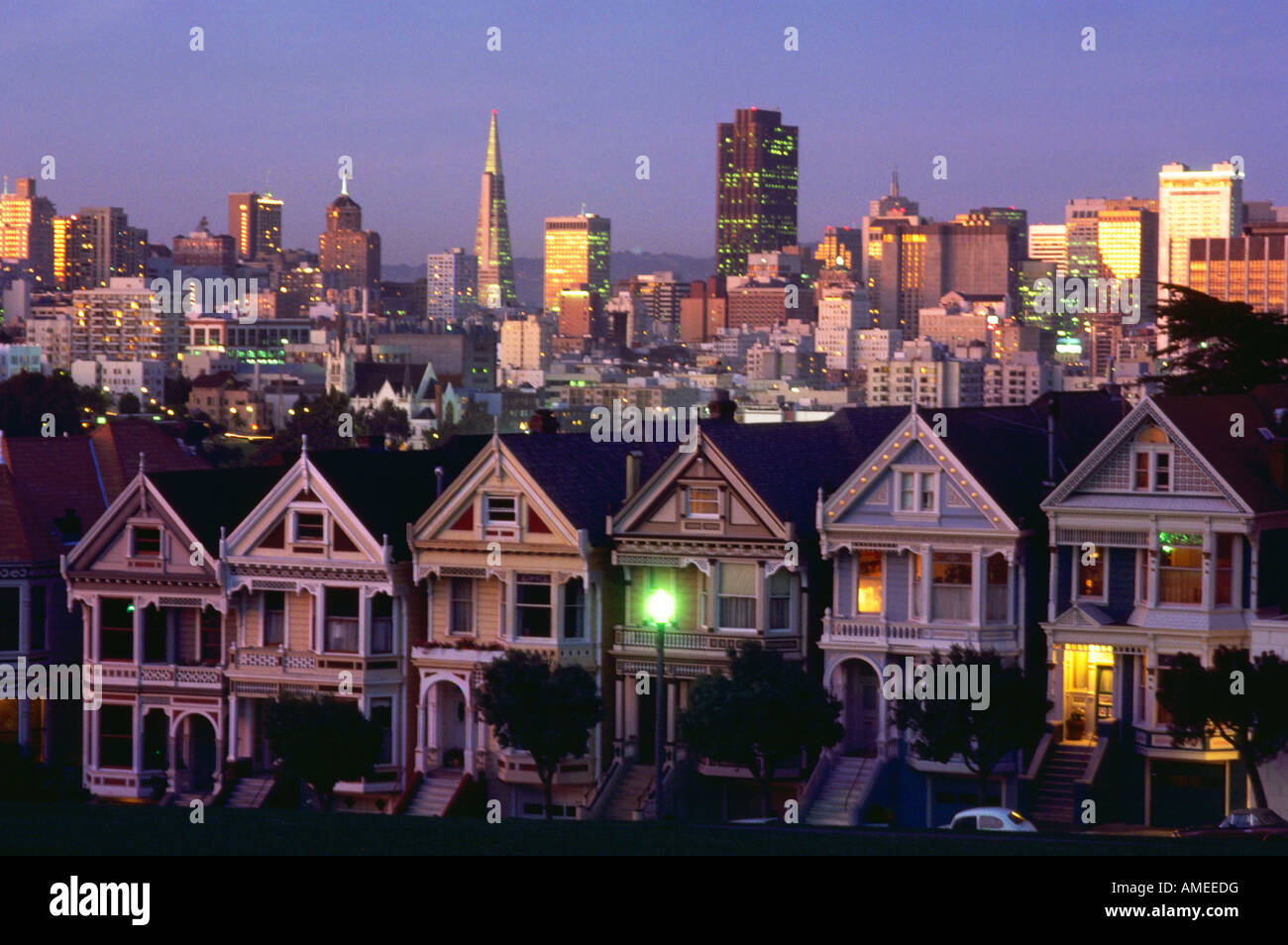 Alamo Park San Francisco CA USA Victorian homes - Stock Image
