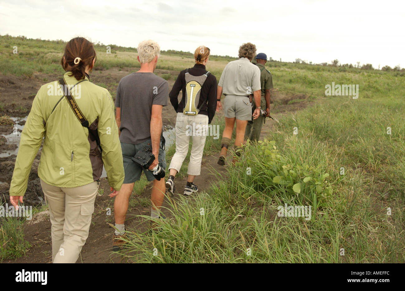 African Safari morning hike Kruger National Park - Stock Image