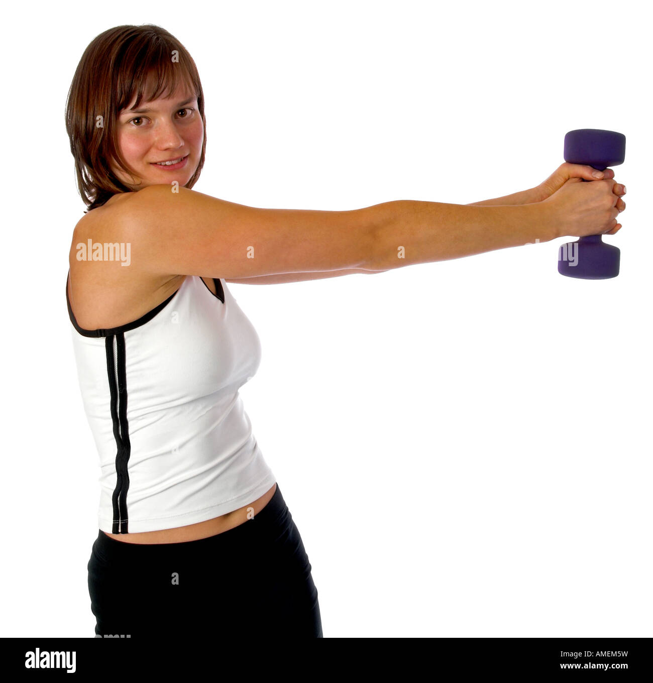 Young woman doing weight training - Stock Image