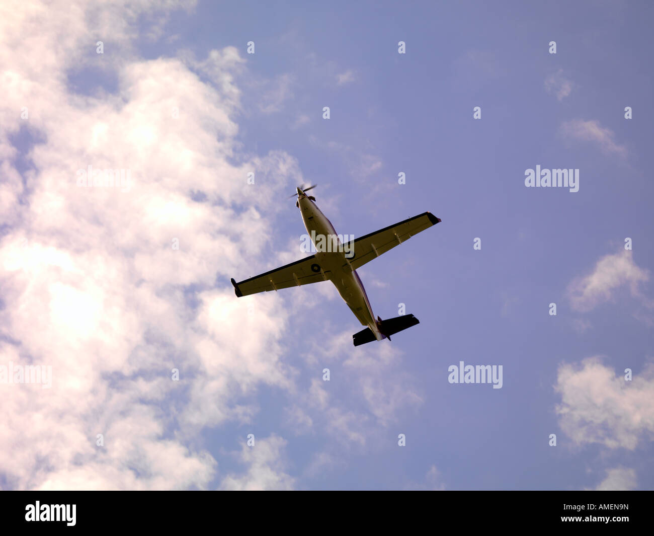 PC 12 airborne from Ted Stevens Anchorage International Airport - Stock Image