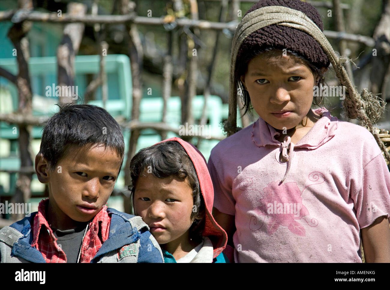 Brothers and sister. Thanchok village. Annapurna circuit trek. Nepal - Stock Image