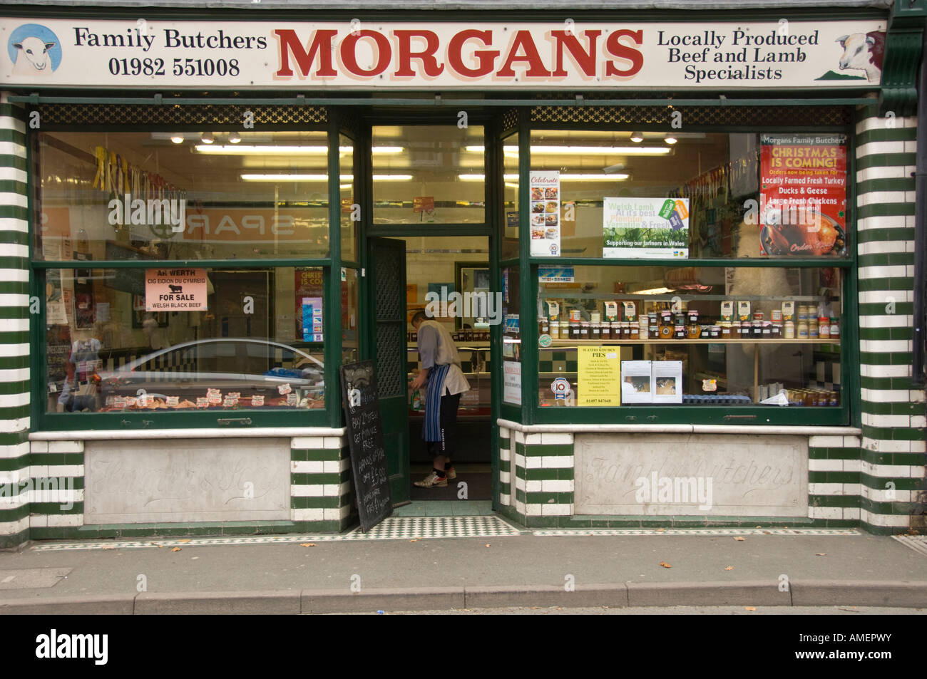 Morgans butchers shop high street Builth Wells Powys Wales UK - Stock Image