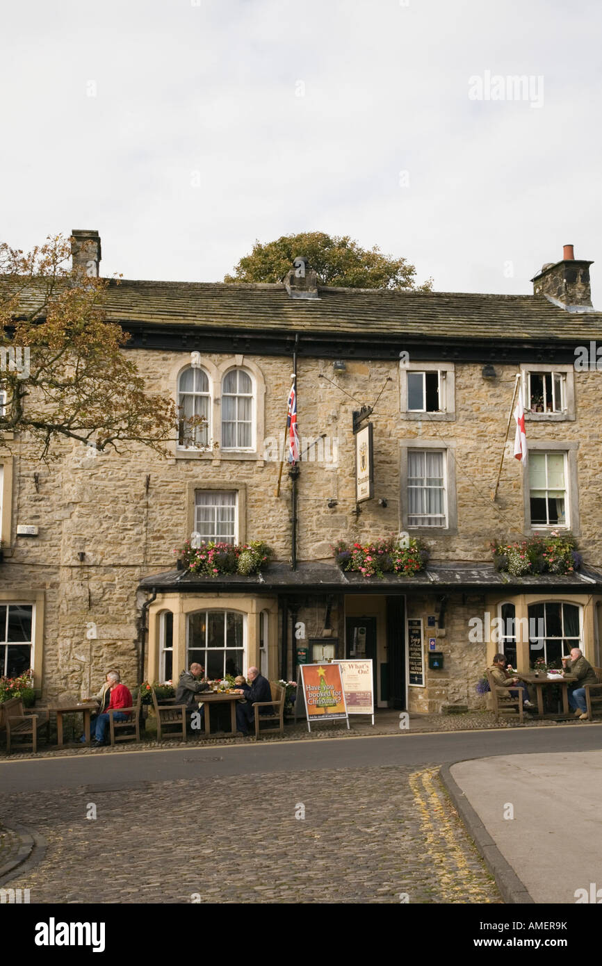 Traditional old stone building The Devonshire hotel in village centre. Grassington North Yorkshire England UK Stock Photo