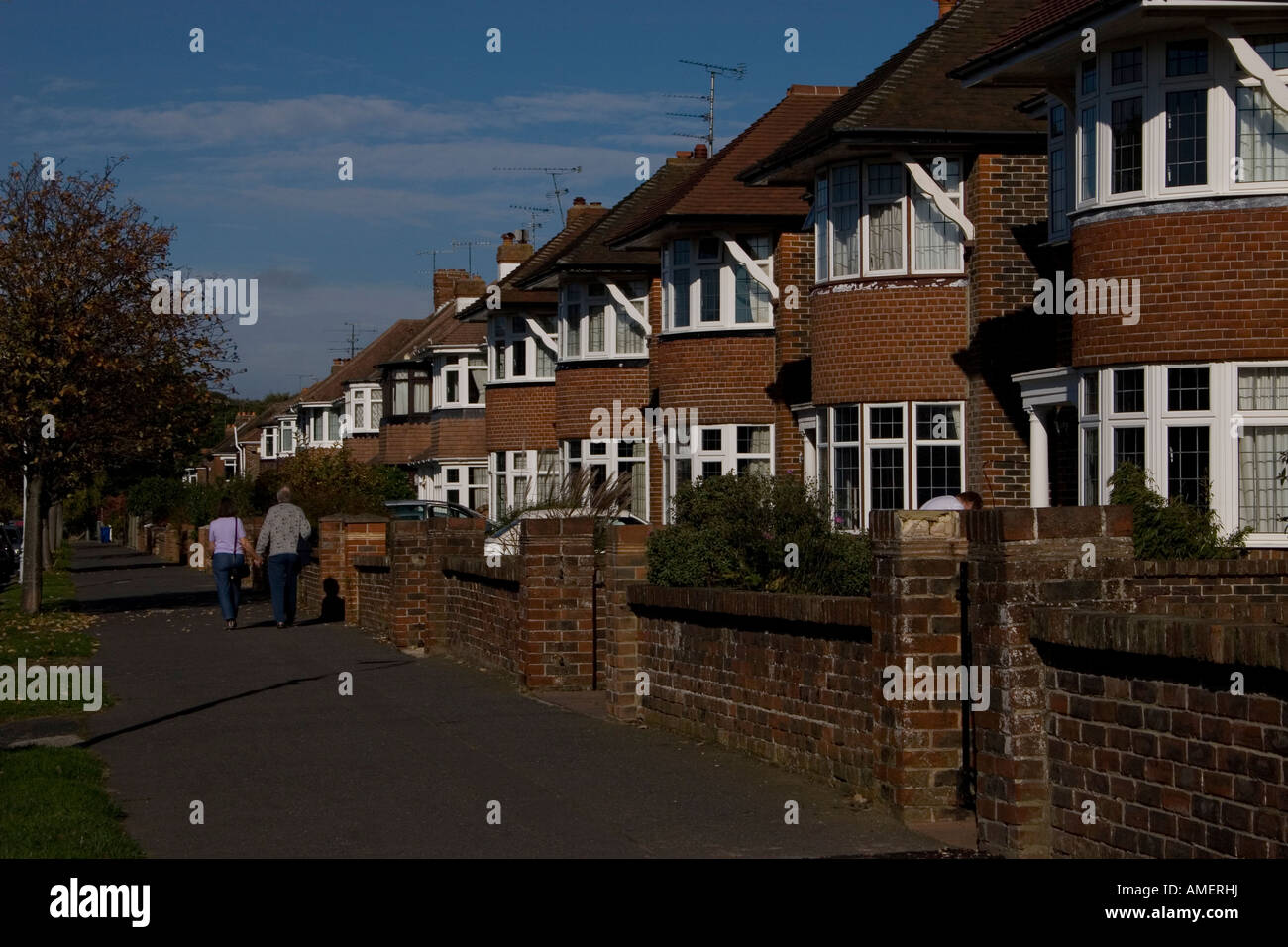 c 1930 s row of bow fronted detached houses Goring on Sea England - Stock Image