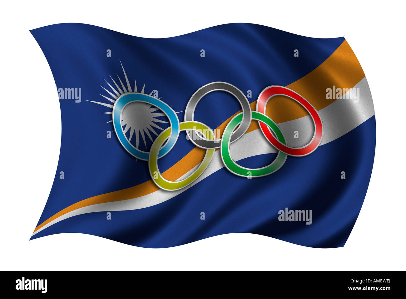 Flag of the Marshall Islands with olympic symbol - Stock Image