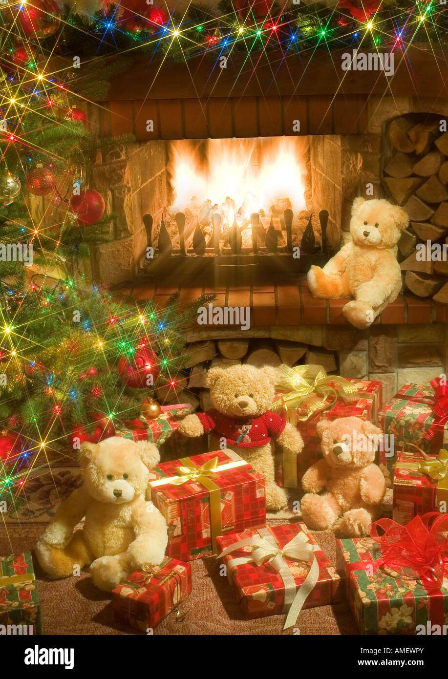 Cards Christmas Fireplace Stock Photos & Cards Christmas