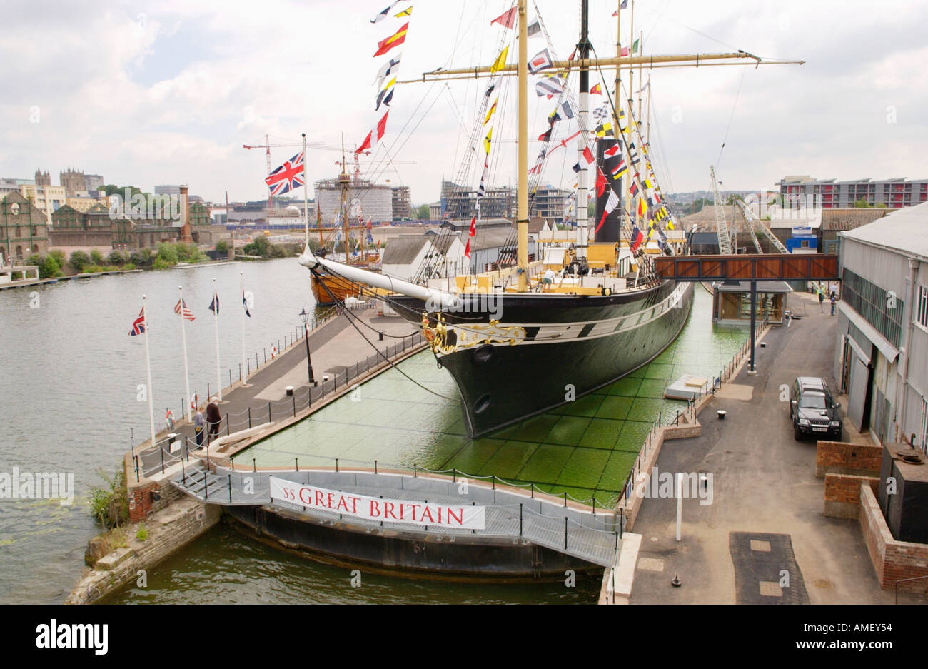 View over the SS Great Britain ocean-going passenger steamship built by Victorian engineer Isambard Kingdom Brunel in Bristol - Stock Image