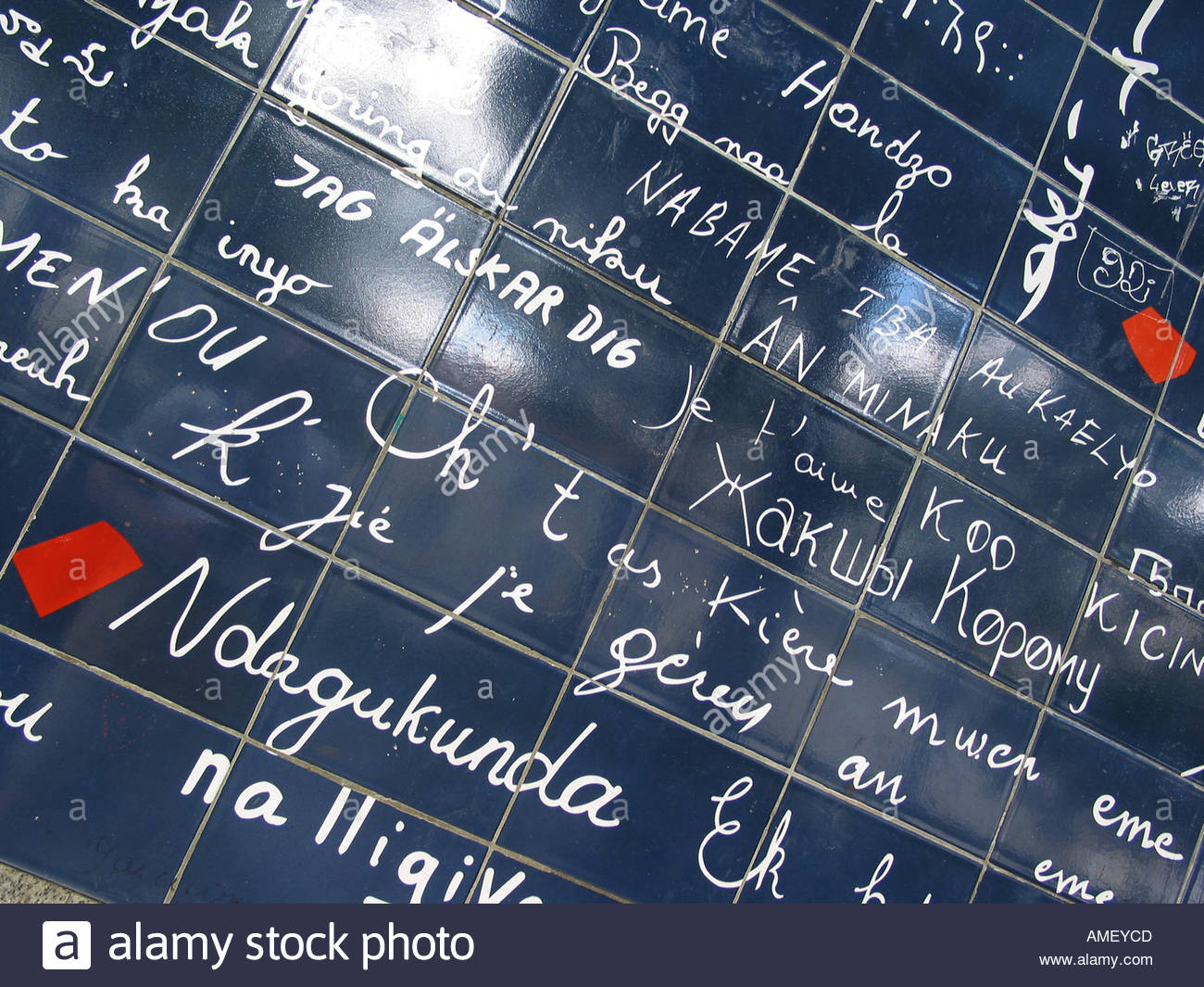detail of Le Mur Bleu, wall of I love you's Paris France - Stock Image