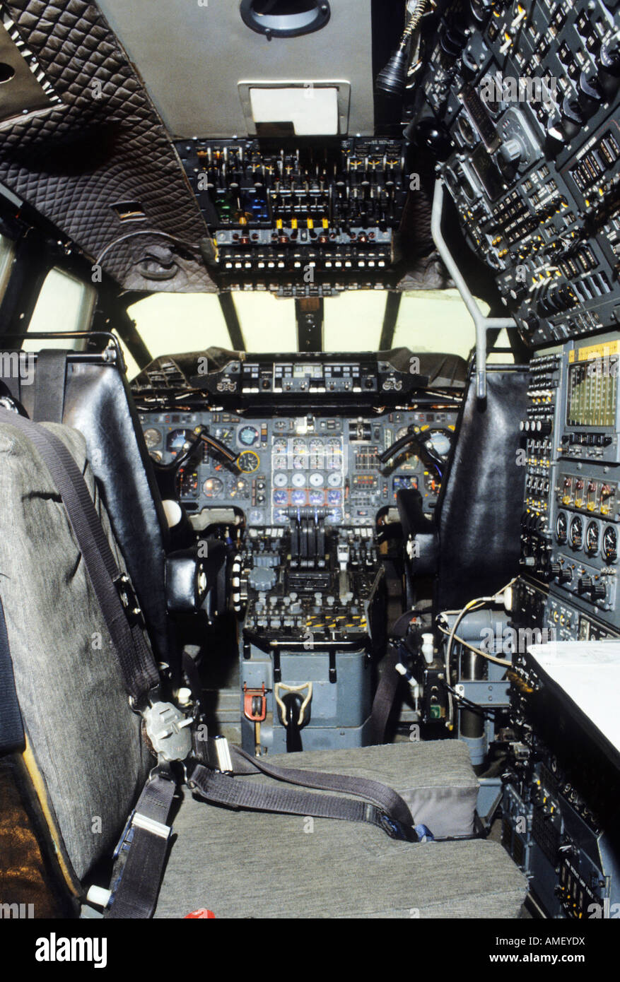 Duxford Air Museum Concord aircraft cockpit Concorde - Stock Image