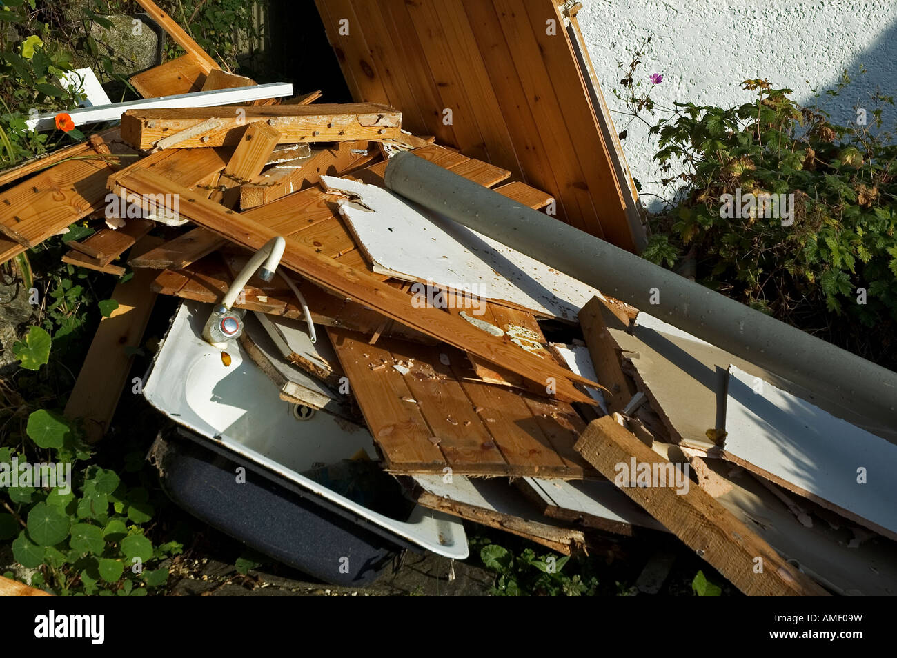pile of scrap wood - Stock Image