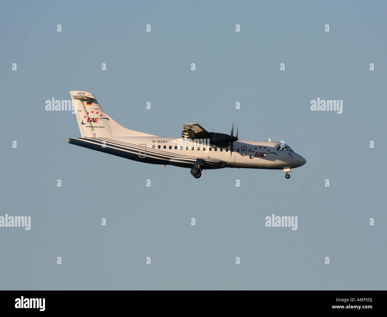 ATR 42 turboprop airliner operated by EAE - Stock Image