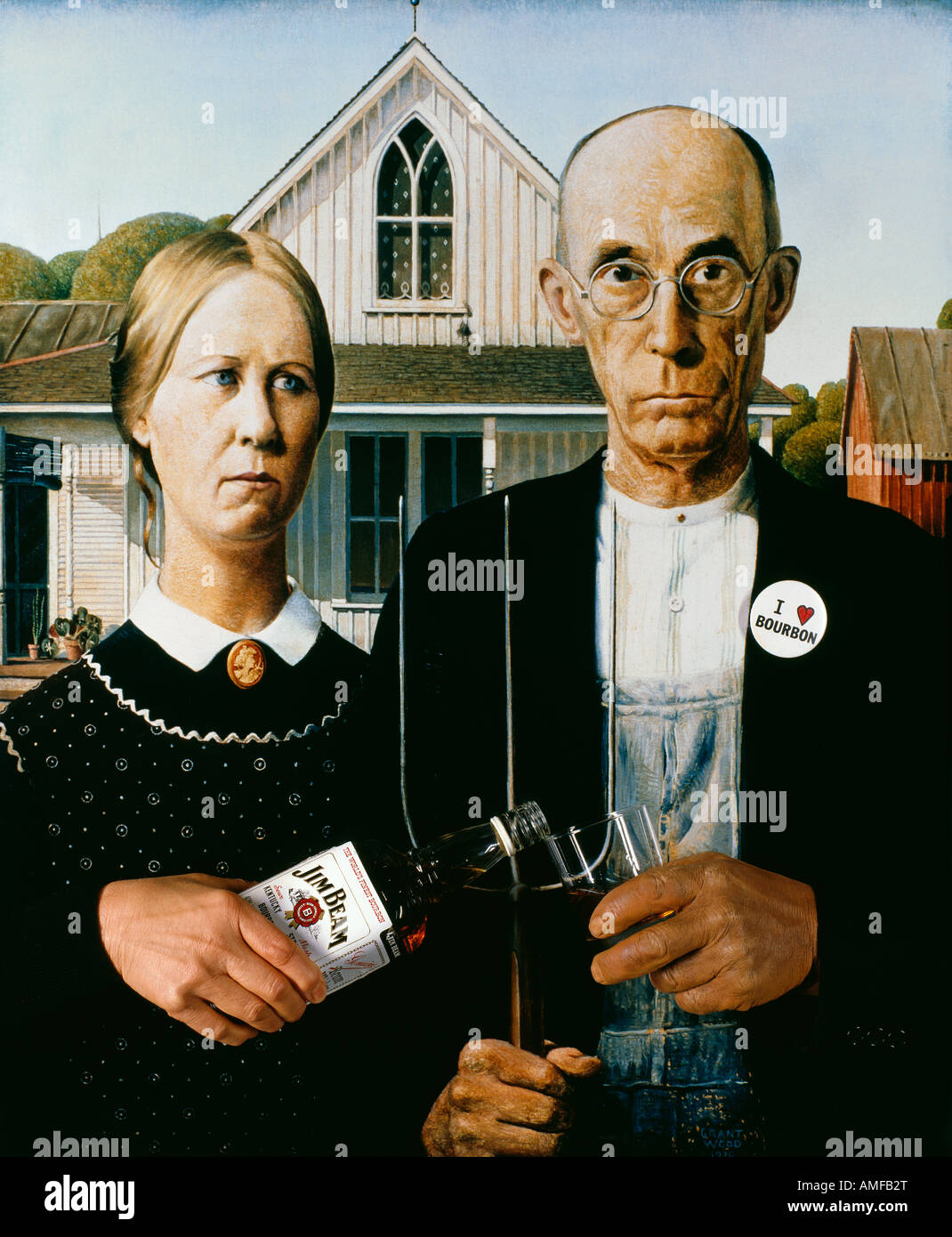 American Gothic Painting Pastiche With Added Hands Bottle And Glass Etc For Editorial Piece On Bourbon