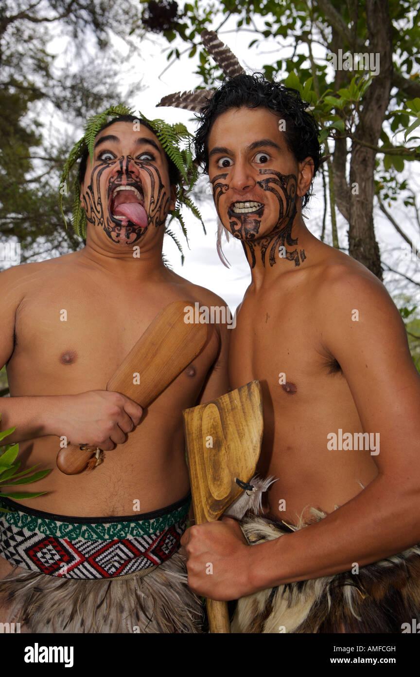 Maori Warriors at the Wairakei Terraces Maori Village near Taupo, North Island, New Zealand. - Stock Image