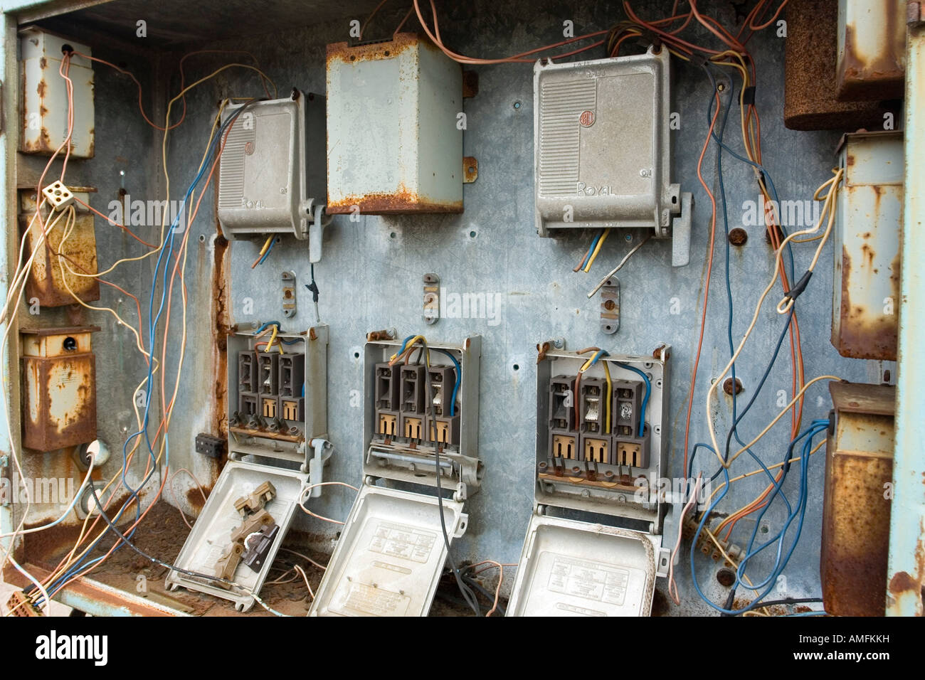Disused electrical fuse box on the site of the former John Brown  Engineering Clydebank Glasgow Scotland
